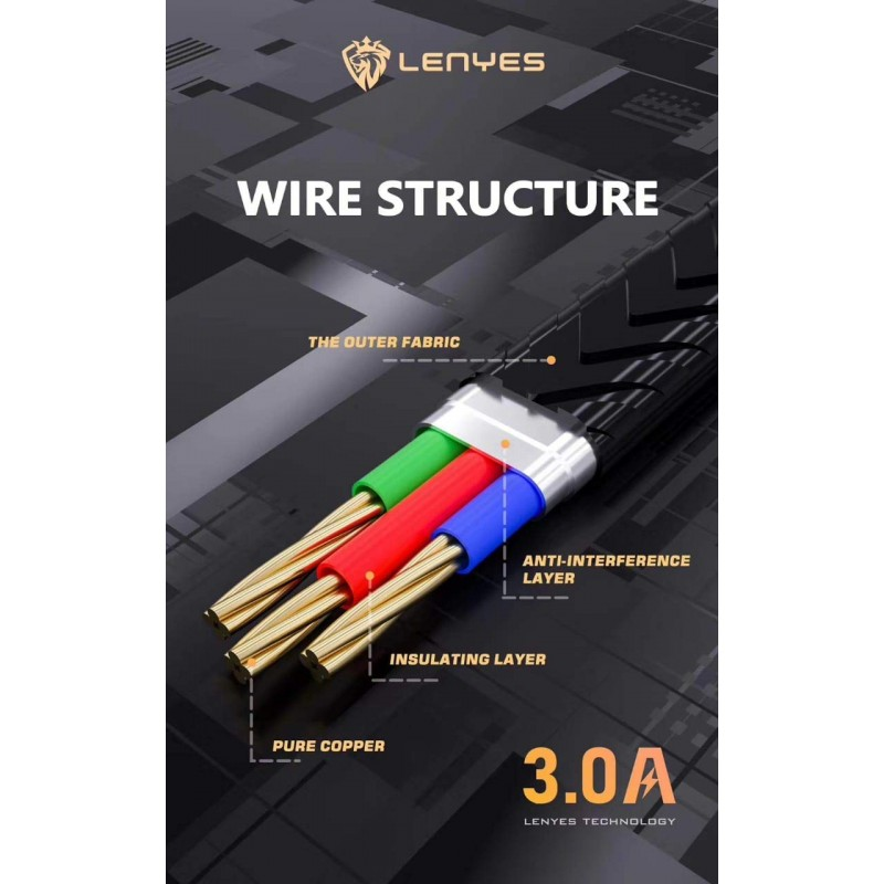 Lenyes LC913 USB 3A Cable and Data Sync Super Fast Ultra Charging Cable