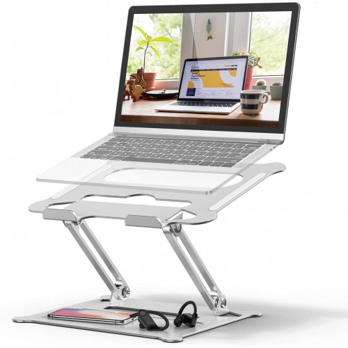 Adjustable Laptop Stand Ergonomic Portable Computer Stand with Heat-Vent to Elevate Laptop Heavy Duty Laptop Holder Compatible with MacBook, Air, Pro All Laptops(Silver)
