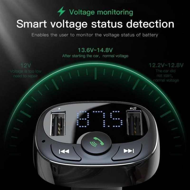 Baseus T Typed  FM Transmitter Bluetooth MP3 Car Charger