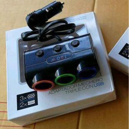 CAR Adaptador Mechero Triple Con USB
