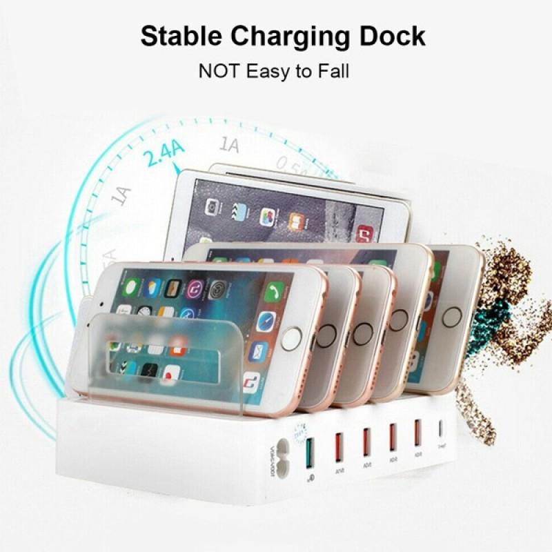 6 Port USB Charger Fast Mobile Phone Charging Station Dock Stand Holder 100-240V