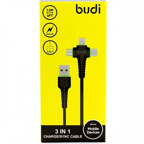 BUDI 3 IN 1 UNIVERSAL CABLE/SYNC APPLE SAMSUNG HUAWEI OPPO