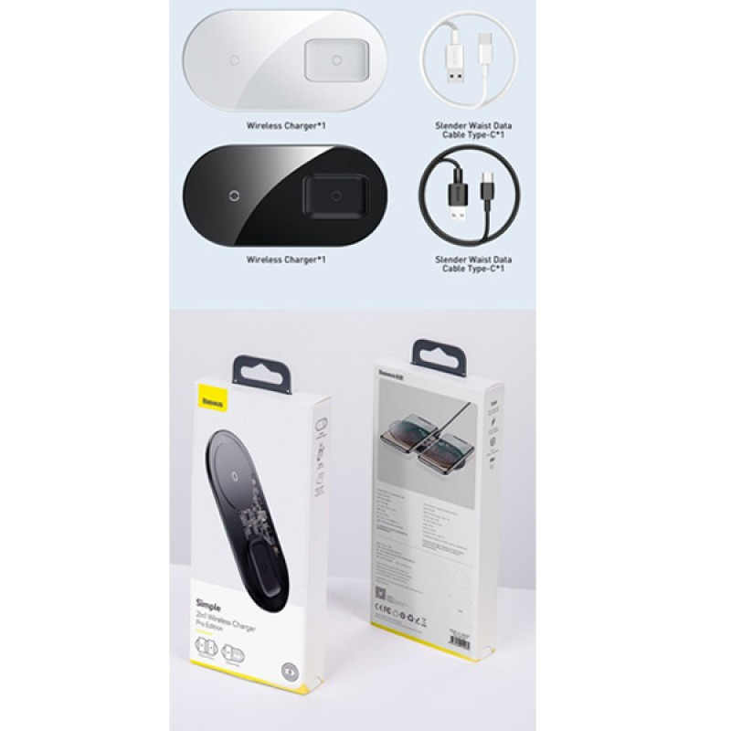 Baseus 2-IN-1 15W Qi Wireless Charger Fast Charging Dock Pad For iPhone Airpods 2