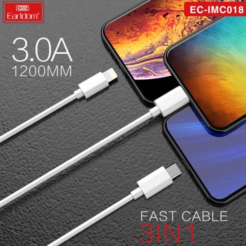 EARLDOM 3 IN ONE DATA CABLE MICRO LIGHTNING TYPE-C FAST CHARGING EC IMC018