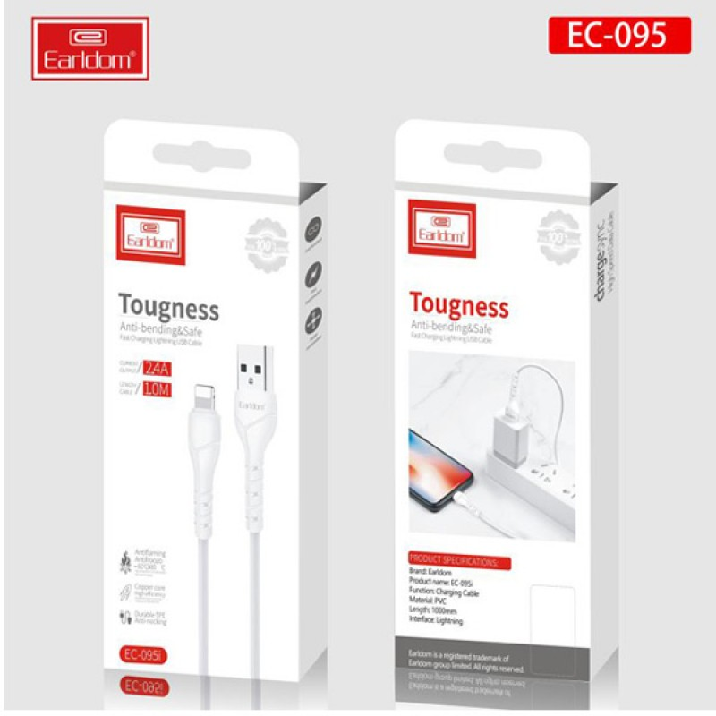 EARLDOM TOUGNESS ANTI BENDING SAFE FAST CHARGING CABLE LIGHTNING MICRO TYPE C USB