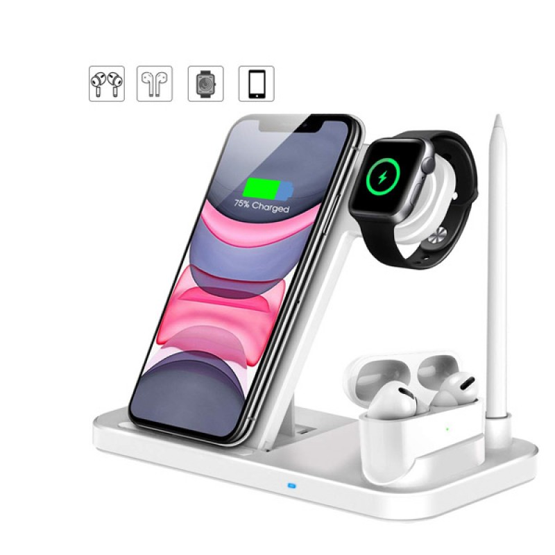 Wireless Charger 4 in 1 Qi-Certified 10W Fast Charging Station