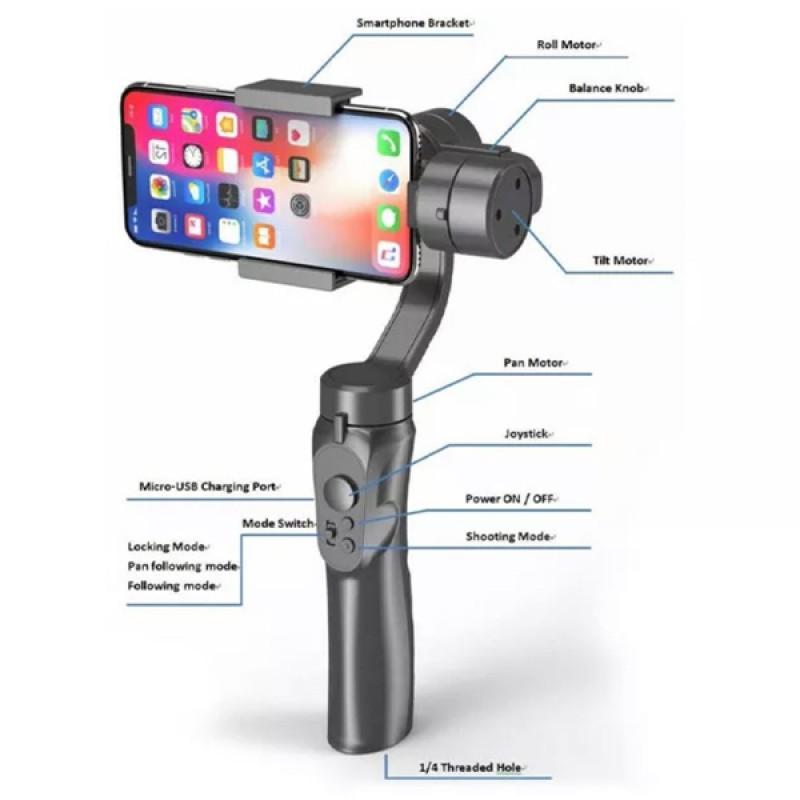 3 Axis Handheld Gimbal Smart Phone Gyroscope Stabiliser Recording Steady Cam
