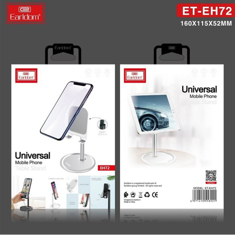 E72 Earldom universal phone stand 360 degree rotating clamp for iphone ipad samsung all mobile phones