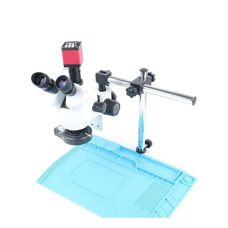 Simul-focal Continuous Zoom 7 45X Trinocular Stereo Microscope+HDMI/VGA Microscope Camera+56 LED Lig