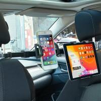 Car Back Seat Headrest Hook Hanger Storage Phone Tablet iPad Holder Dual Mount